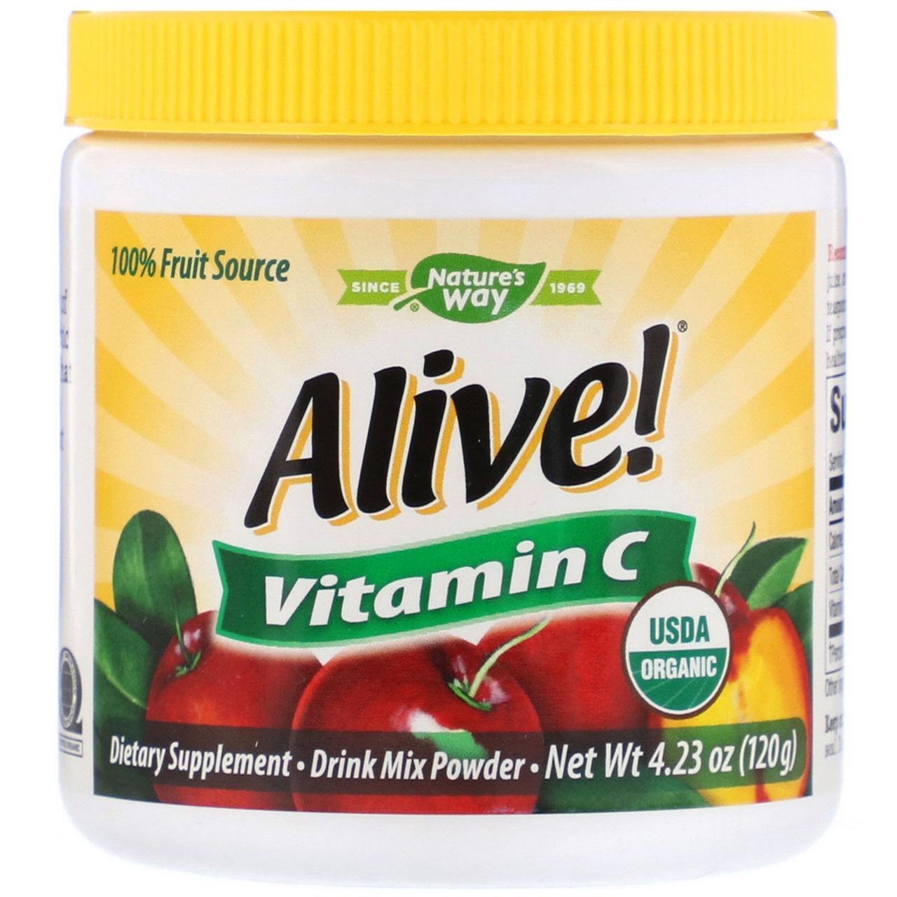 """Витамин С из ацеролы Nature's Way """"Alive! Fruit Source Vitamin C"""" в порошке, 500 мг (120 г)"""