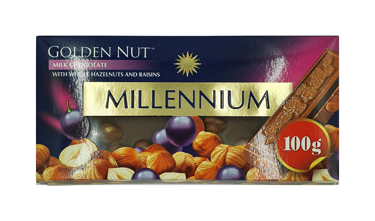 """Шоколад """"MILLENIUM GOLD"""" Молочный с изюмом и целыми лесными орехами"""