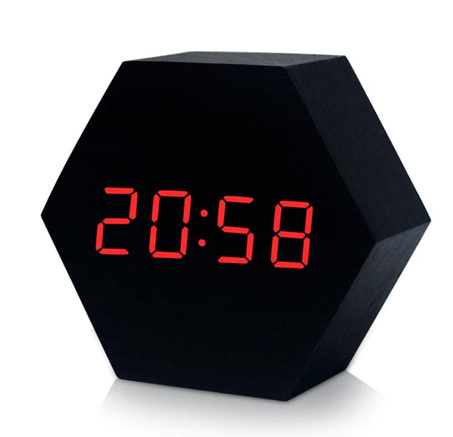 Настольные сетевые часы VST-876-1 красная подсветка
