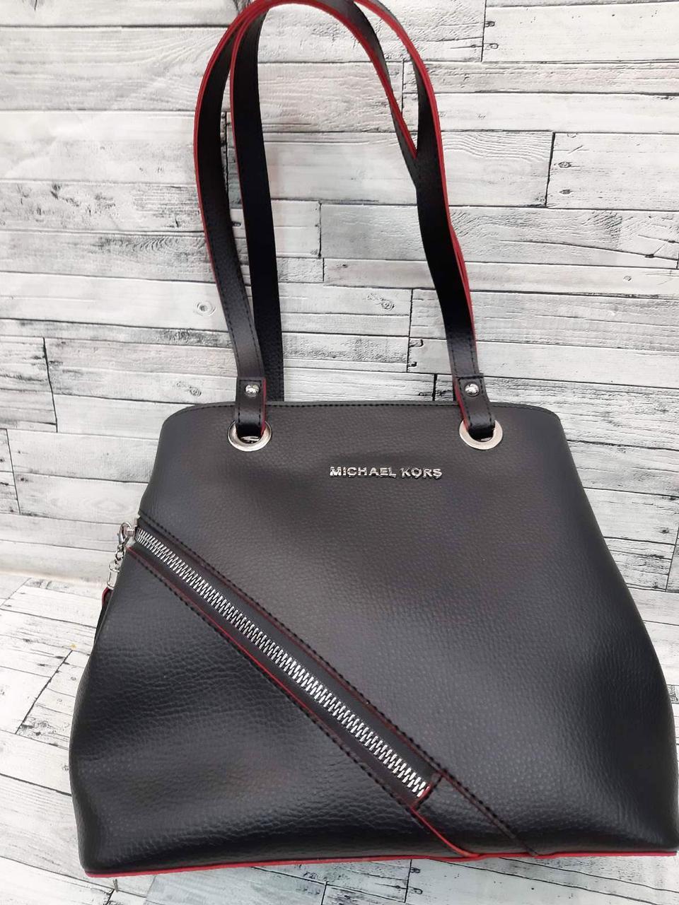 Женская сумка Mісhаеl Коrs, в стиле Майкл Корс MK, черная с красным ( код: IBG205BR )