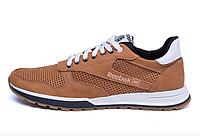 Мужские кожаные летние кроссовки, перфорация Reebok Classic brown коричневые