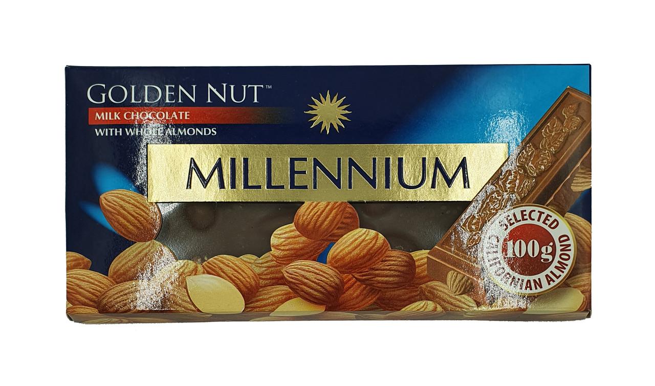 "Шоколад ""MILLENIUM GOLD"" Молочный з целым миндалем"