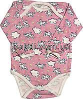 Детское тёплое боди с начёсом рост 74 6-9 мес хлопковое футер розовое на девочку бодик с длинным рукавом для новорожденных малышей Р780