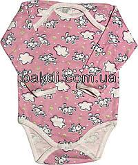 Дитяче тепле боді з начосом ріст 74 6-9 міс бавовна футер рожевий бодік на дівчинку з довгим рукавом для