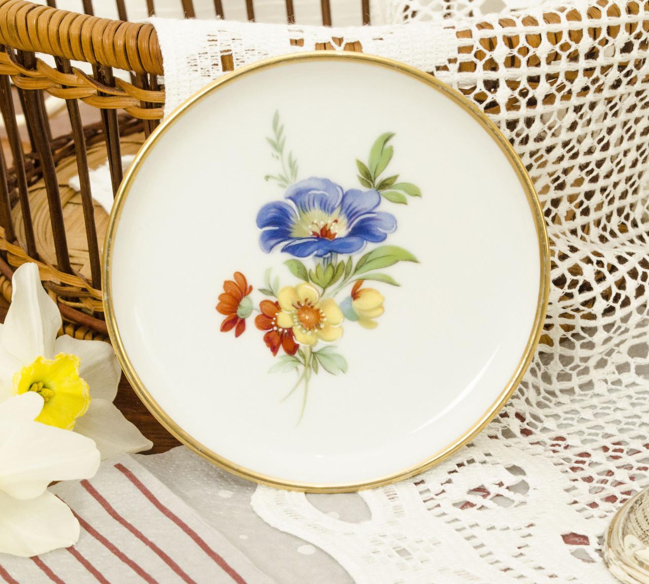 Миниатюрная фарфоровая тарелочка, блюдце для колец, розетка с цветами, Англия, Kaiser