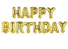 Фольгированная надпись Happy Birthday - Золотая (Gold) - 40 см