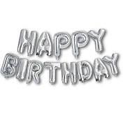Фольгированная надпись Happy Birthday - Серебро (silver) - 40 см