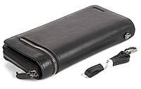 Мужская стильная прочная барсетка бумажник с натуральной высококачественной кожи HASSION art. H-089 черный, фото 1