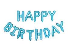 Фольгированная надпись Happy Birthday - Голубая (Blue) - 40 см