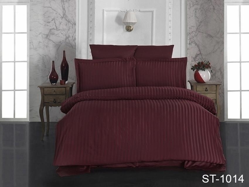 Комплект постельного белья страйп сатин евро размер
