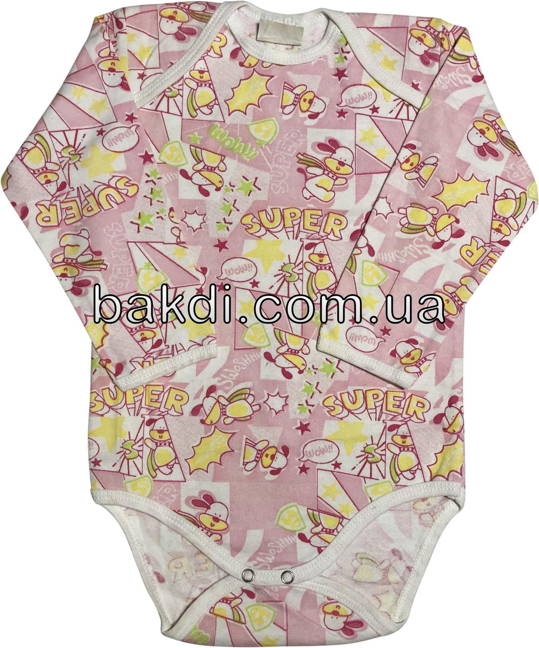 Детское тёплое боди с начёсом рост 86 1-1,5 года хлопковое футер розовое на девочку бодик с длинным рукавом для новорожденных малышей Е780