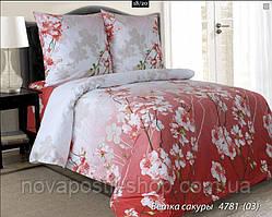 Ткань для постельного белья, бязь белорусская Ветка сакуры красная