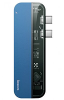 HUB Baseus Transparent Series Dual Type-C Multifunctional Adapter Blue
