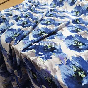 """Ткань штапель принт """"акварель"""" синие цветы"""