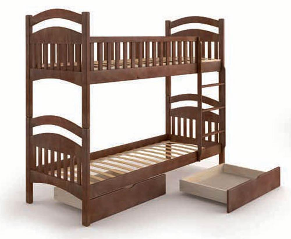 Кровать деревянная Жасмин с ящиками 90х200 Mebigrand орех темный