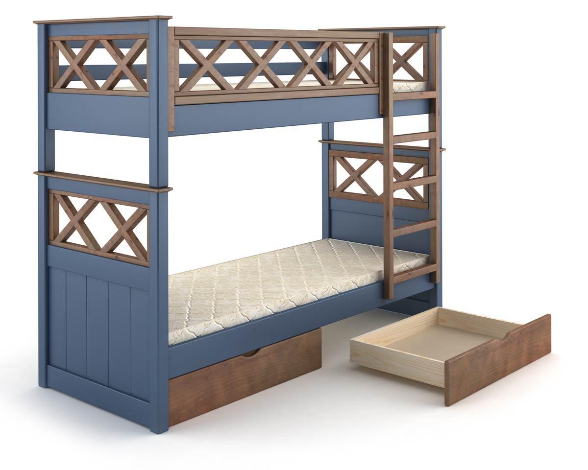 Кровать деревянная двухъярусная Мальта 90х200 Mebigrand сосна синий (S7010R90B) / орех темный
