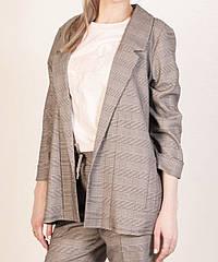 Удлиненный пиджак оптом (дропшиппинг), женский пиджак в клетку. серый 44,46,48,50 р. (Турция)