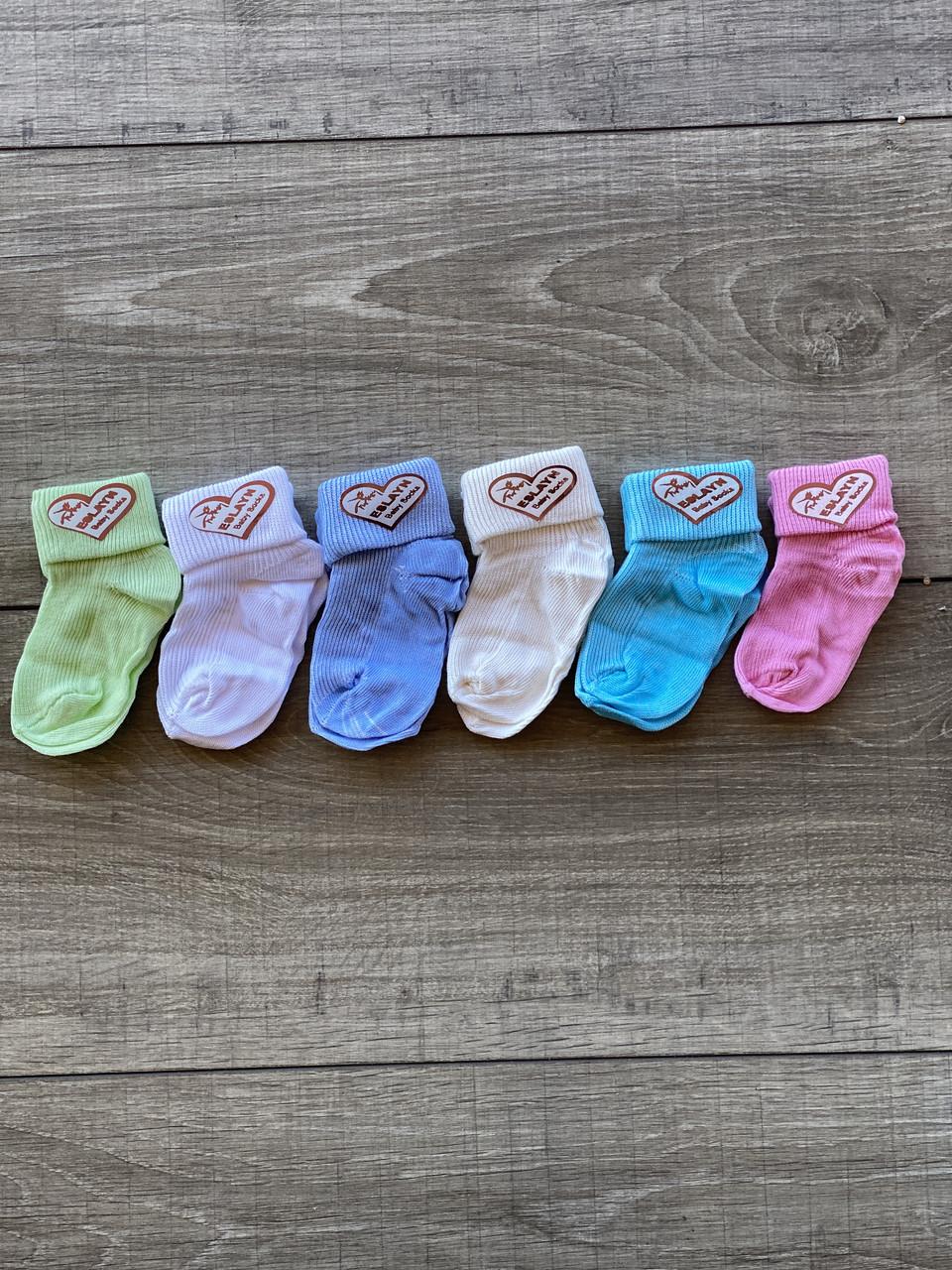 Носки для младенцев хлопок Eslayn для девочек и мальчиков 12 шт в уп микс из 6ти цветов