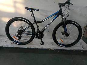 """Підлітковий гірський велосипед Azimut Forest 24 розмір рами 12,5"""" GD BLACK-BLUE"""