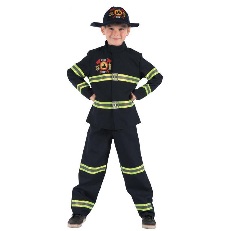 Костюм детский карнавальный пожарный, рост 110-120 см, черный (091014B)