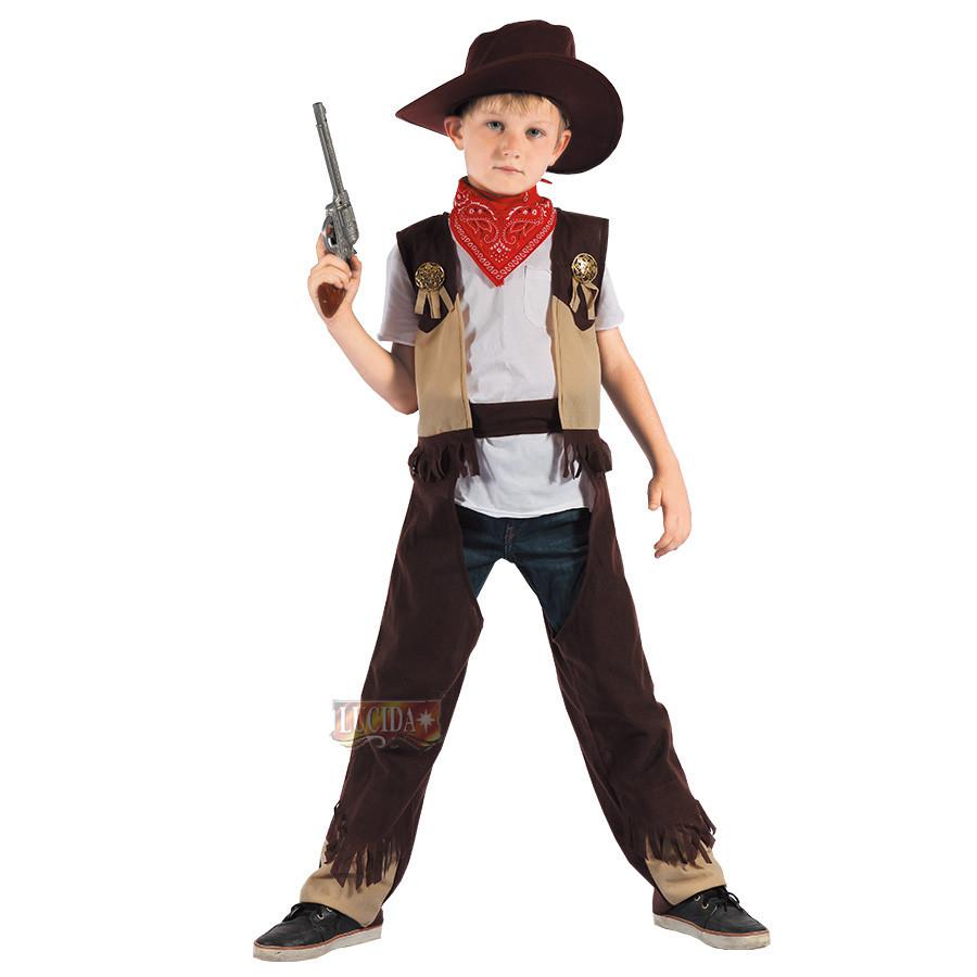 Костюм детский карнавальный ковбой, рост 92-104 см, черный (091037A)