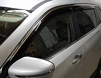 Дефлекторы окон (ветровики) с хром полосой (кантом-молдингом) Nissan X-Trail T-32 (ниссан икс-трейл 2014+)