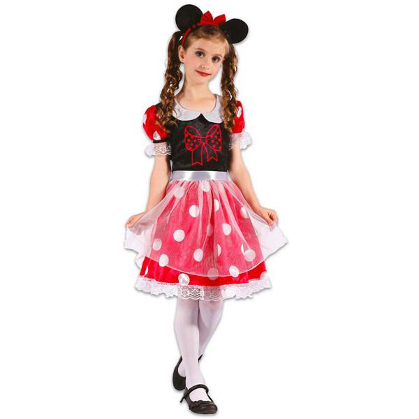 Костюм детский карнавальный мышки для девочки, рост 92-104 см, красный в белый горох (091047A)