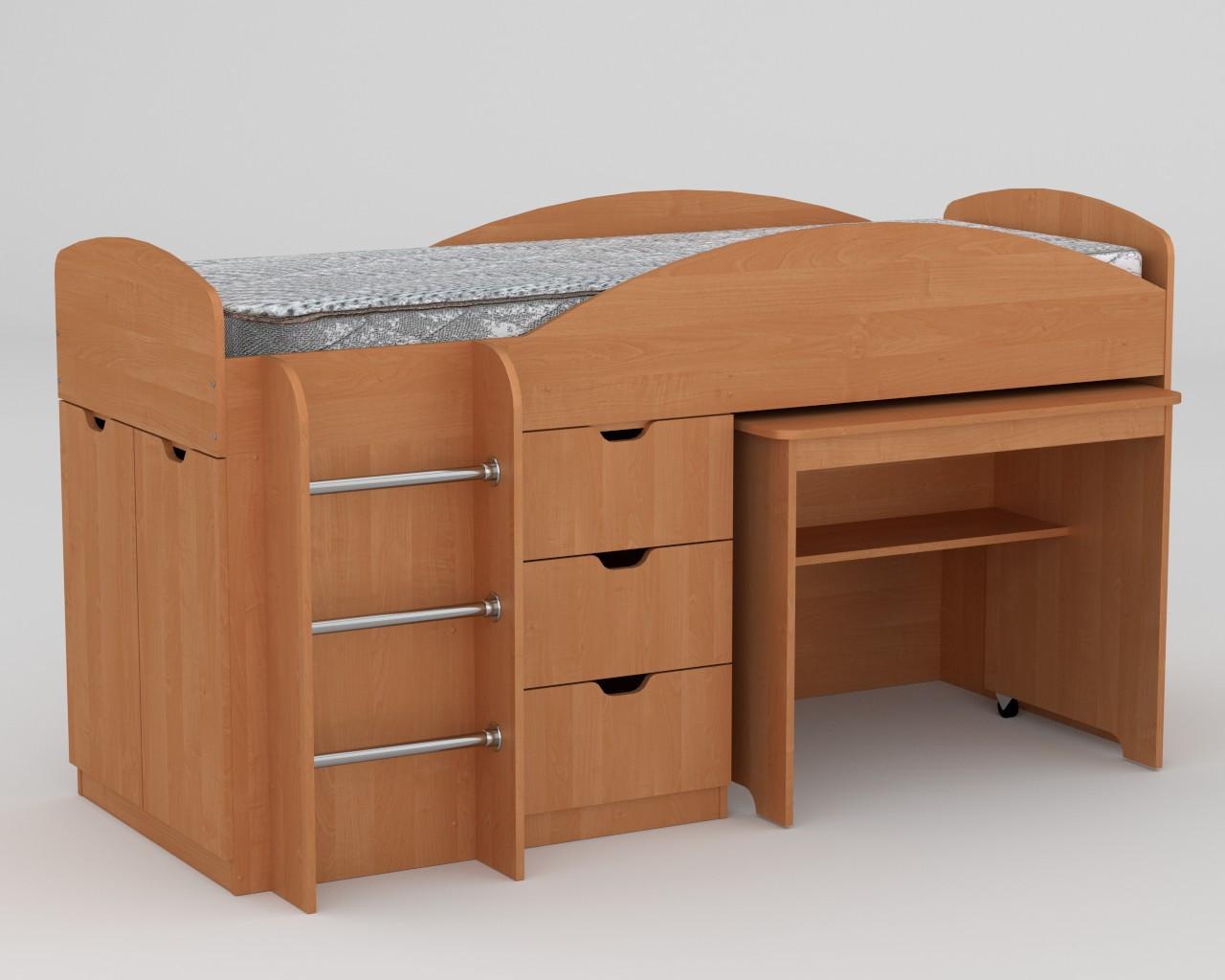 Кровать с матрасом ЭКО-52 Универсал ольха компанит (194х89х106 см)