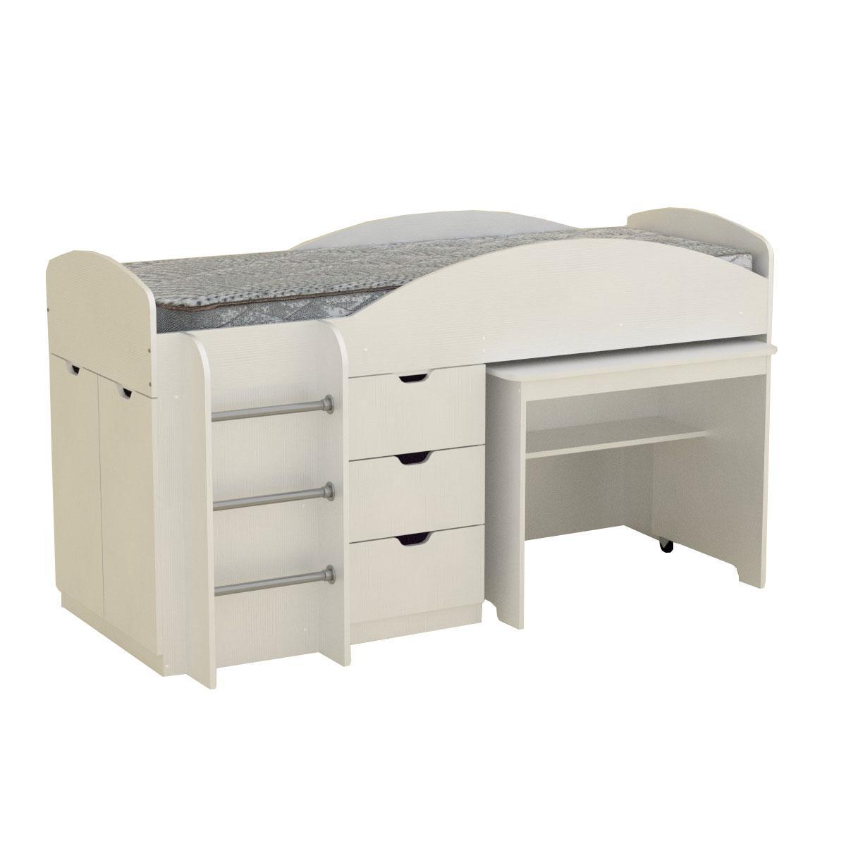 Кровать с матрасом ЭКО-52 Универсал белый компанит (194х89х106 см)