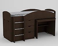 Кровать с матрасом ЭКО-52 Универсал венге компанит (194х89х106 см)