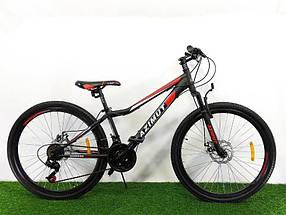 """Підлітковий гірський велосипед Azimut Forest 24 розмір рами 12,5"""" GD BLACK-RED"""