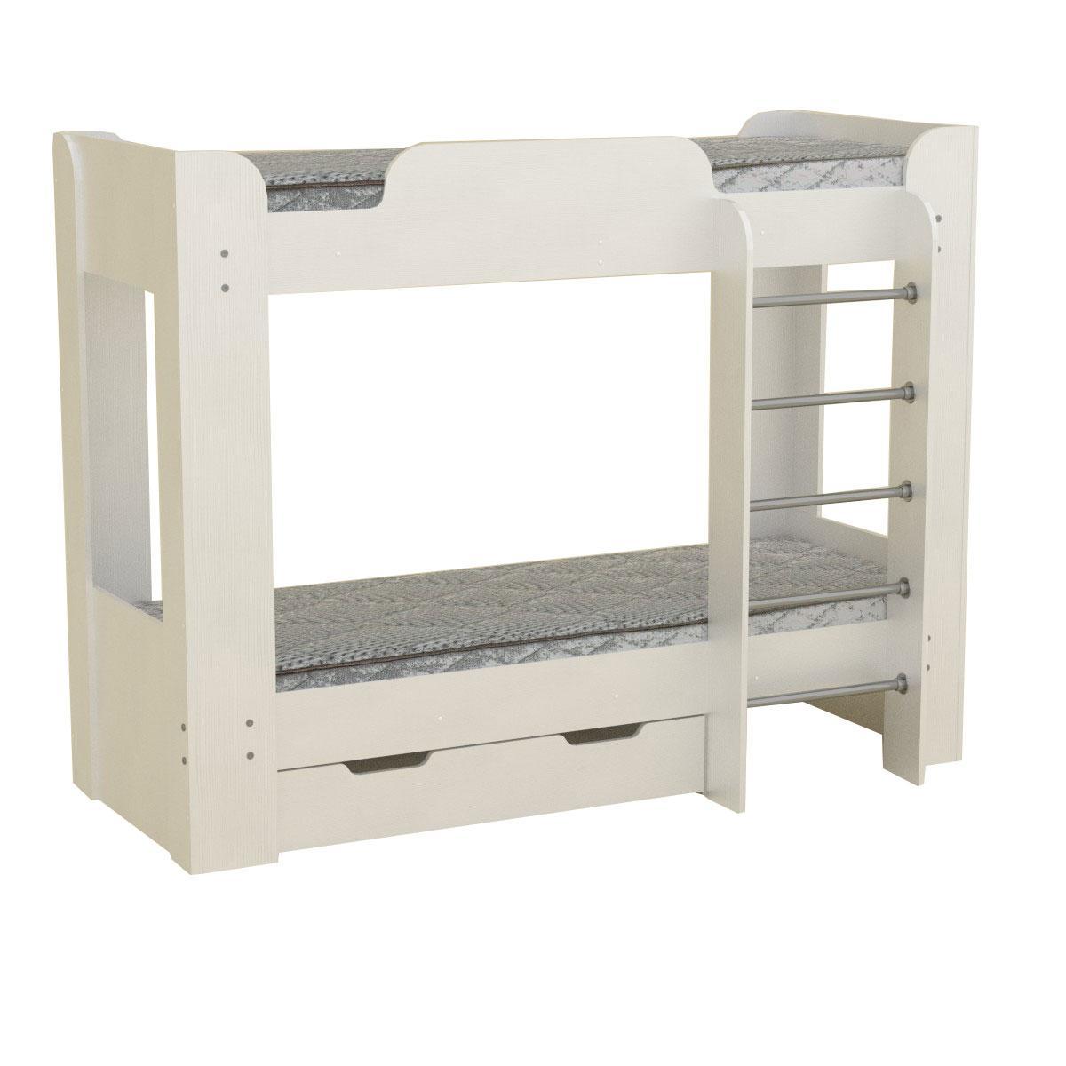Кровать с матрасами двухъярусная Твикс-2 белый Компанит