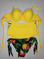 Купальник анжелика высокая талия и бразилиана Sisianna 98268 желтый на 44 46 48 50 52 размер