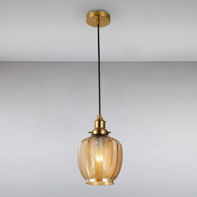Люстра подвесная на одну лампу LS-814872-1 BR коричневая