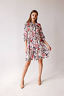 Легкое летнее шелковое женское платье Pink