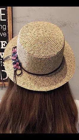 Шляпа женская пляжная с цветами, фото 2