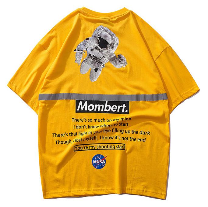 Жёлтая футболка NASA Mombert (наса со светоотражающей полоской мужская женская)