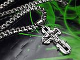 Серебряная цепочка и крестик с ониксом, фото 2