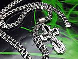 Серебряная цепочка и крестик с ониксом, фото 3