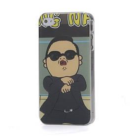 Прикольный чехол на Apple iPhone 4S пластиковый Gangnam Style