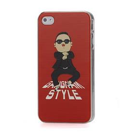Прикольный пластиковый чехол на Apple iPhone 4S Gangnam Style, красный