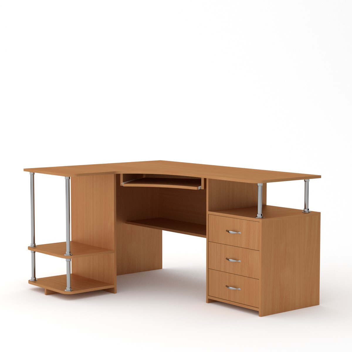 Стол компьютерный СУ-4 (кромка АБС - 2мм) бук Компанит (150х110х77 см)