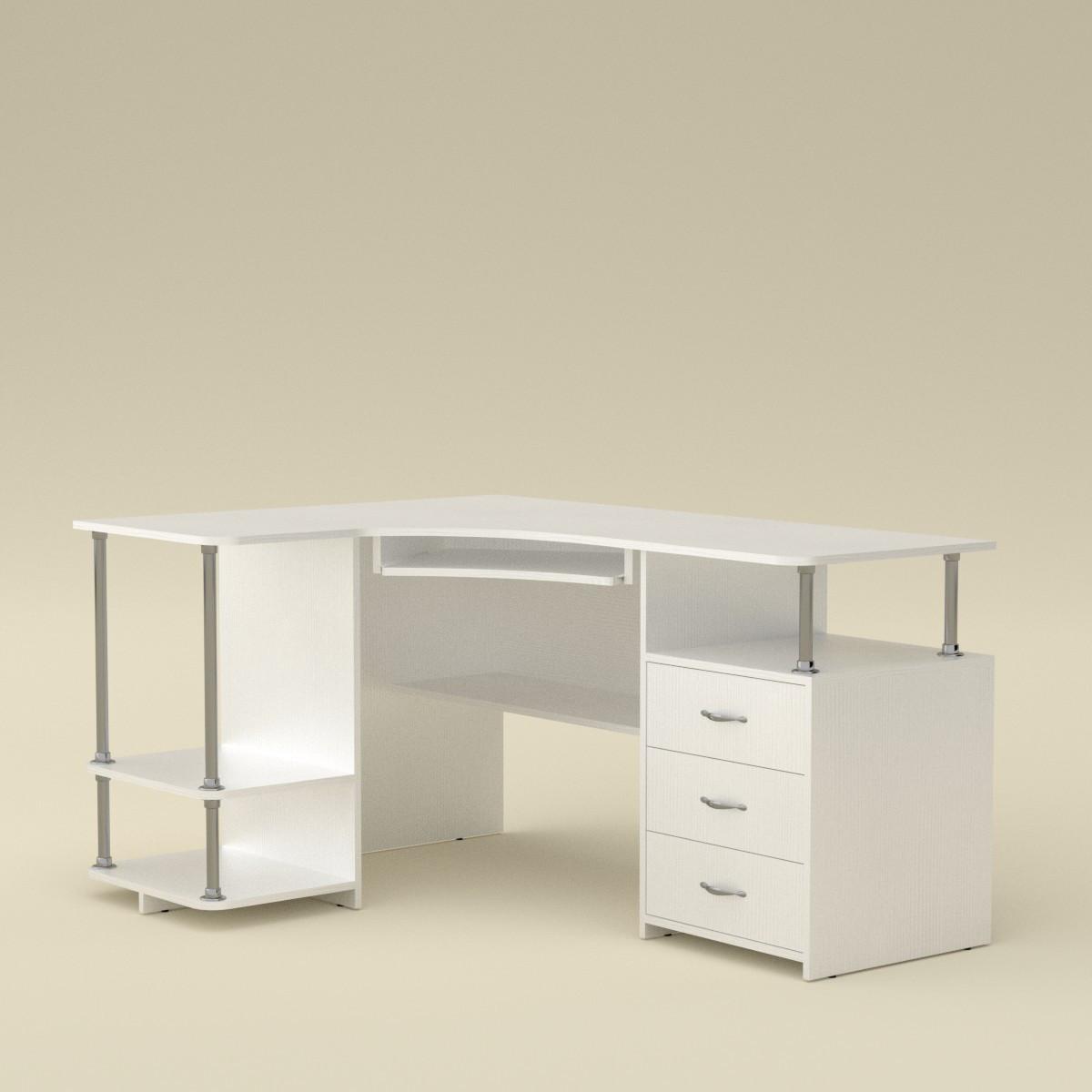Стол компьютерный СУ-4 (кромка АБС - 2мм) белый Компанит (150х110х77 см)