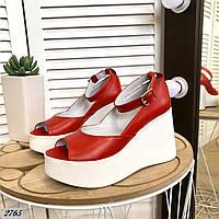 Кожаные туфли на танкетке 36-40 р красный, фото 1