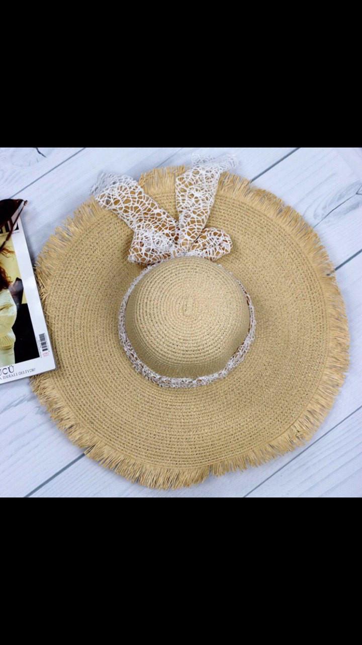 Шляпа женская пляжная с бахромой и лентой бежевая