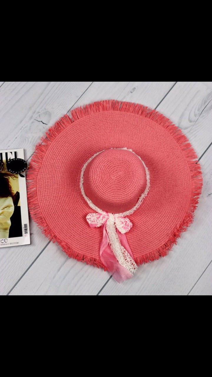 Шляпа женская коралловая пляжная с бахромой и лентой