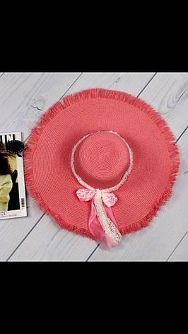 Шляпа женская коралловая пляжная с бахромой и лентой, фото 2