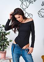 Стрейчевое джинсовое женское боди лодочка арт 9972