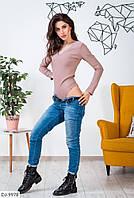 Облегающее стрейчевое джинсовое женское боди арт 9978