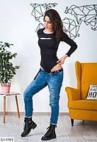 Облегающее женское боди с разрезами джинс стрейч арт 9983